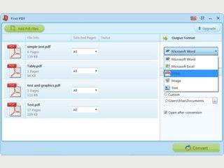 Wandelt PDF-Dokumente in MS Word, Richtext oder in Grafiken um.