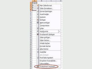 Alle Kontextmenüleisten von Excel nach belieben anpassen