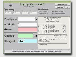 Computer Kasse mit 4 Warengruppen