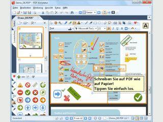 PDF-Dateien öffnen, Kommentare hineinschreiben, und wieder als PDF speichern