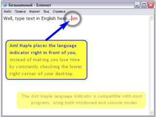 Zeigt das derzeit verwendete Tastatur-Layout am Satzende oder als Mauszeiger