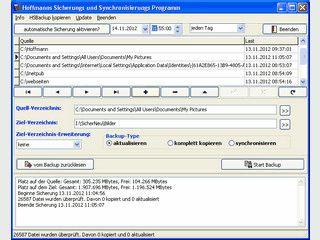 Schnelle Sicherung der geänderte Dateien eines oder mehrer Verzeichnis