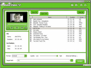 Konvertiert Video-DVDs, MPEG, DivX und XviD für Mobilgeräte