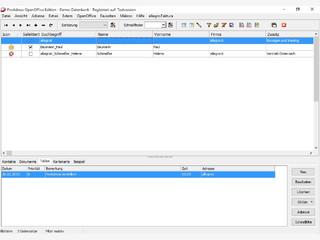 Adressprogramm mit Kontakten, Dokumenten, Aufgaben, Reports und Word-Anbindung