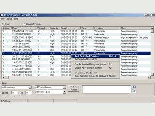 Findet und listet Proxy-Server aus die Sie mit einem Klick aktivieren können.