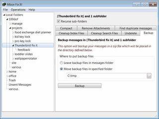 Verschiedene Tools für Thunderbird zum sichern, löschen und wiederherstellen.