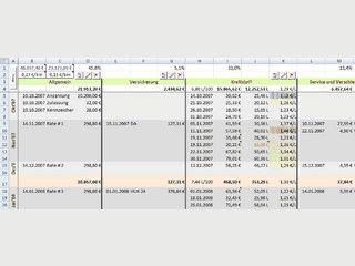 Excel-Tabelle für Abrechnung der Autokosten