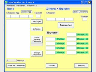 Schneller und einfacher Lottocheck (6 aus 49) für bis zu 60.000 Zahlenreihen.