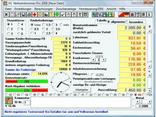 Nettolohnberechnung mit allen Lohnsteuertabellen von von 1992 bis 2007