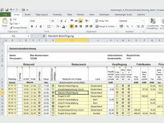 Vorlage für die Reisekostenabrechnung beim Arbeitgeber