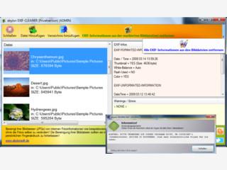Zeigt Meta-Dateiinformationen von Bildern und löscht diese