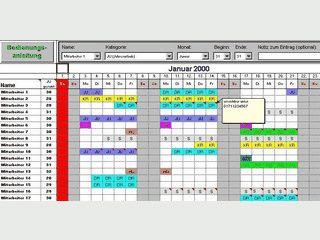 Berechnung der Urlaubs- und Fehlzeiten der Mitarbeiter. Automatischer Kalender.