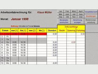 Berechnung anfallender Arbeitszeiten in Monatskalendern.