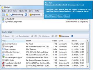Email Benachrichtigungstool fuer POP3, IMAP, MAPI und Hotmail-Mail
