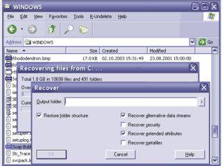 Werkzeug zur Wiederherstellung von gelöschten Dateien für FAT, NTFS, Ext2FS