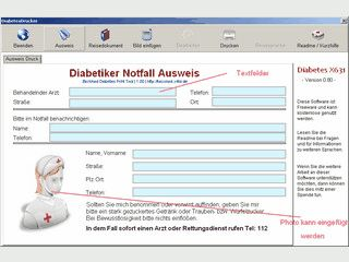 Software druckt einen Diabetes Notfallausweis und eine Reisebescheinigung.