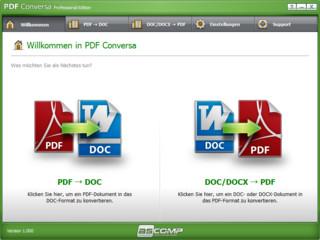 Software zur beidseitigen Konvertierung zwischen PDF und DOC/DOCX.