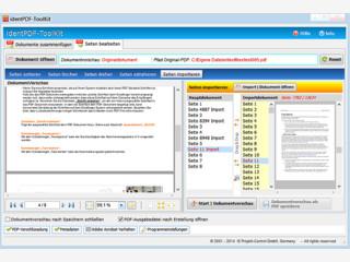 Bearbeiten und Zusammenfügen von PDF-Dokumenten mit diversen Optionen.