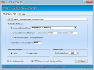 Konvertiert Dateien Hewlett Packard Graphic Language (HP-GL) nach PDF.