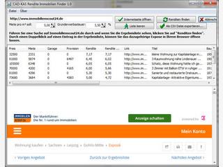 Suchergebnisse einer Immobiliensuche von Immobilienscout24 analysieren.