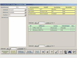 Access Datenbank zur Verwaltung Ihrer PC Hard- und Software.