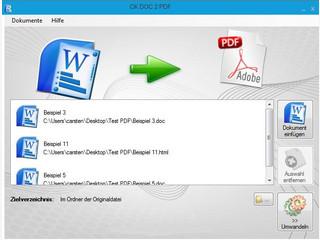 Konvertierung von Word-, Rich-Text-. und HTML-Dateien in das PDF-Format