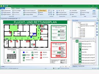 Programm zur Erstellung von Flucht- und Rettungsplänen nach DIN ISO 23601.
