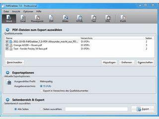 Export von PDF-Inhalten in verschiedene Formate.