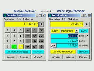 Mathe- und Währungsrechner mit Brutto, Netto, Mehrwertsteuer