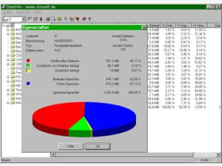 DiskInfo gibt einen genauen Überblick auf die Speicherbelegung von Datenträgern.
