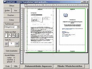 Druckt papiersparend mit 2, 4, 8, oder 16 Seiten pro Blatt im Buchformat