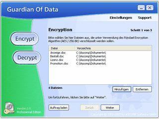 Verschlüsselung vertraulicher Daten mit 256-Bit Rijndael Encryption Algorithmus