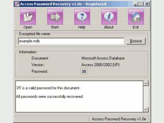 Passwort Recovery fuer MS Access Datenbanken