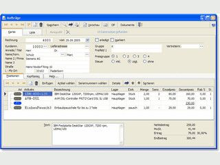 Netzwerk- und mandantenfähige Auftragsbearbeitung inkl. Bestellwesen und Fibu.