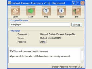 Wiederbeschaffung von Outlook Passwörtern.
