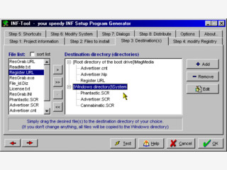 Mit dem INF Tool können Sie Installationsroutinen für Ihre Software erstellen.