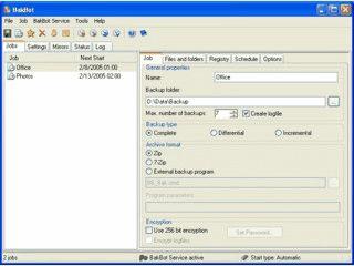 Zeitgesteuerte oder manuelle Datensicherung auch als 7-Zip und Zip Deflate64.