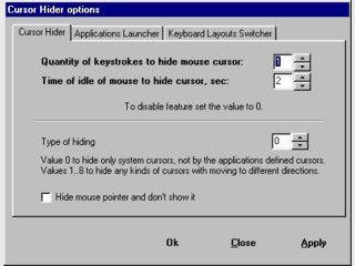 Blendet den Mauszeiger aus, während Sie die Tastatur benutzen.