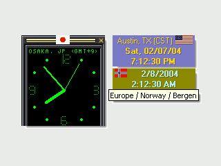 Desktop Uhr mit drei Zeitzonen und Kalender. Erinnerungsfunktion.