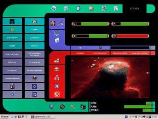 Desktop-Oberfläche mit Steuerelementen, wechselnder Bildanzeige und Wecker.