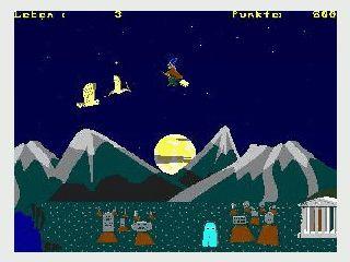 Jump & Run mit Hexe auf dem Besenstiel und vielen Ungeheuern.