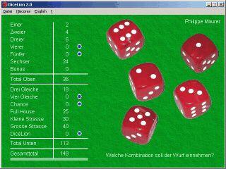 Das bekannte Würfelspiel mit den 5 Würfeln.