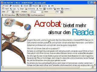 PDF Dateien öffnen und als Word Datei speichern.