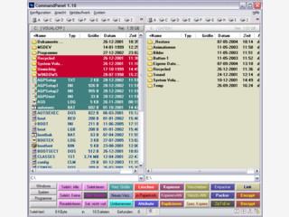 Dateimanager mit 2-Fenster-Ansicht und konfigurierbaren Schaltflächen.