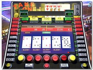 3D Poker Geldspielautomat, wie er in den Spielhallen zu finden ist.