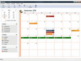 Terminkalender für Aufgaben, Termine und Geburtstage.