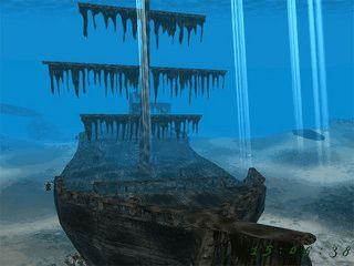 Nett gemachter Screensaver der Sie durch ein gesunkenes Piratenschiff führt.