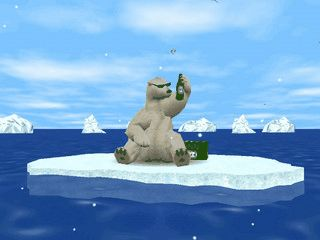 Amüsanter 3D-Bildschirmschoner mit einem Eisbären