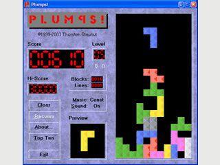 Plumps ist ein Clone des bekannten Spiele-Klassikers Tetris.
