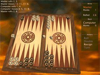 Sehr gute 3D Umsetzung von Backgammon. Singleplayer und Netzwerk